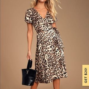 Wild Night Out Taupe Leopard Dress NWT